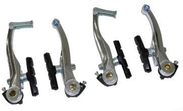 Тормоз V-brake, Vinca Sport, (две пары), алюм., 107мм, колодки 65мм, серебр VVB 9