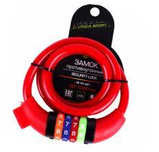 Замок велосипедный кодовый Vinca Sport 10*1000мм, красный, VS 101.427 red