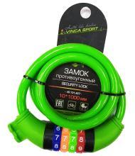 Замок велосипедный кодовый Vinca Sport 10*1000мм, зеленый, VS 101.427green
