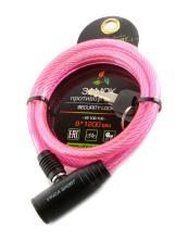 Замок велосипедный Vinca Sport 8*1200мм, розовый, VS 102.102 pink