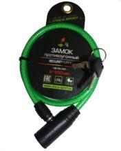 Замок велосипедный Vinca Sport 8*650мм, зеленый, VS 101.101 green