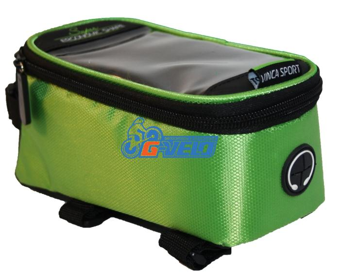 Vinca Sport, Сумка на раму, отд. телефона, отв. для науш. 190х90х95мм, зеленый кант, FB 07-2 M green