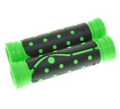 """Грипсы резиновые """"точка"""", 120 мм, черный/зеленый"""