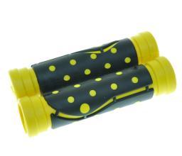 """Грипсы резиновые """"точка"""", 120 мм, черный/желтый"""